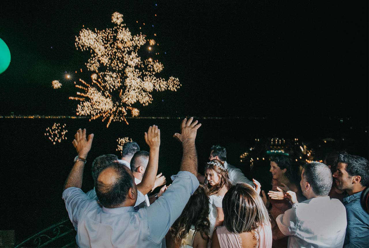 wedding decoration, wedding planning, greece, wedding party, fireworks