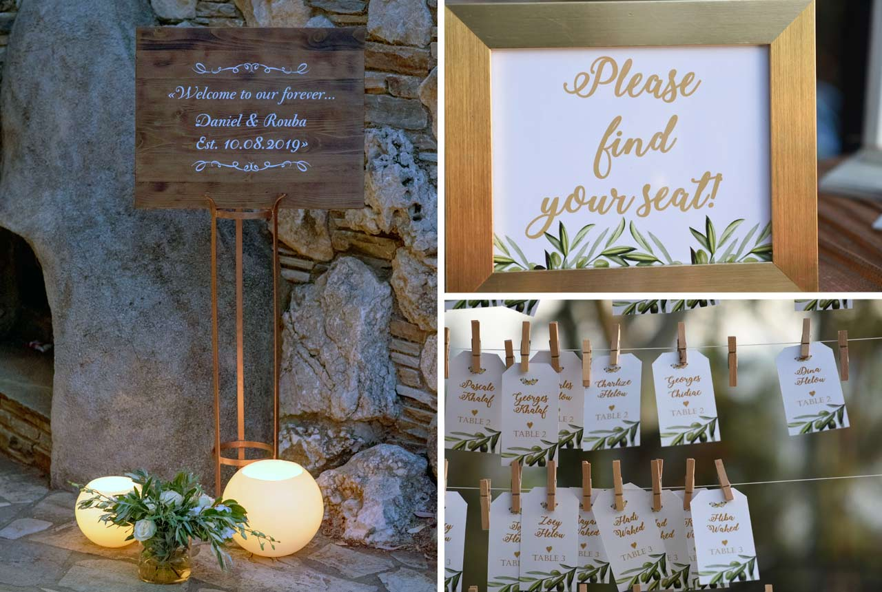wedding decoration, wedding planning, greece, signs