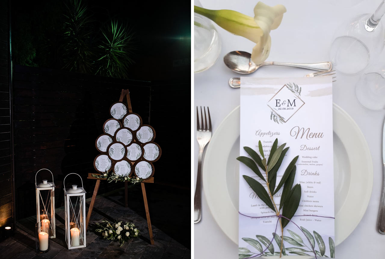 wedding decoration, seating plan, menu, olive details